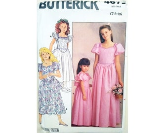 UNCUT Butterick 4672 Girls Flower Girl, Bridesmaid, Formal, Party, Princess Dress Sewing Pattern Ages 7, 8 & 10