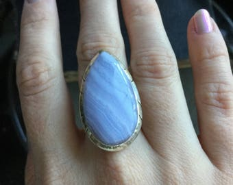 Blue Lace Agate ring, sterling silver size 6.5