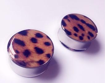 Leopard print plugs! animal print, silver tunnels, ear plugs.