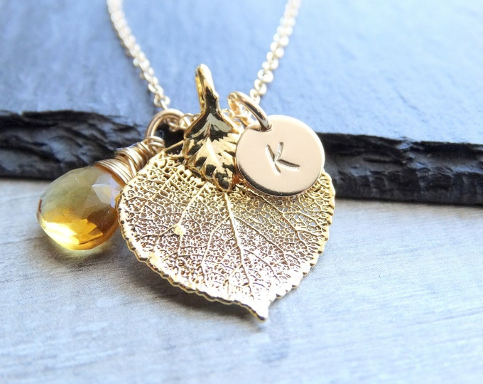 Featured listing image: Gold leaf necklace Aspen leaf necklace, Real leaf jewelry Initial Necklace Personalized Jewelry Birthstone necklace