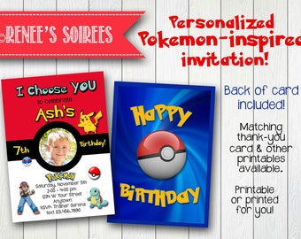 POKEMON-Inspired INVITATION - Printable Birthday Invite - Personalized DIY - with or without Photo