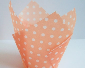 24 Peach with White Dots Tulip Cupcake Liners