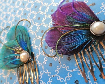 WINTER Heart and Soul Collection - Purple and Turquoise Peacock Feather Combs