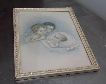 Vintage Retro Seventies Nursery Print angel Baby