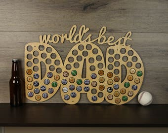 World's Best Dad Beer Cap Trap, Father's Day Beer Cap Collector, Dad's Gift, Bottle Cap Display, Unique Father's Day Gift, Gift for Dad