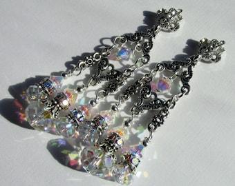 Fluer, Victorian Style Bridal Earrings, Swarvoski Crystal Chandelier Wedding Earrings, Hollywood Glamour, Great Gatsby Style