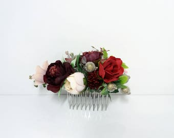 Burgundy blush flower comb,Peony comb,Wedding flower comb,Bridal flower comb,Floral comb,Bridal hair accessories,Marsala Bridal Comb