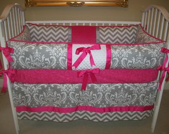 Bright Pink and Grey Damask and Chevron Baby Bedding Set 4 Piece