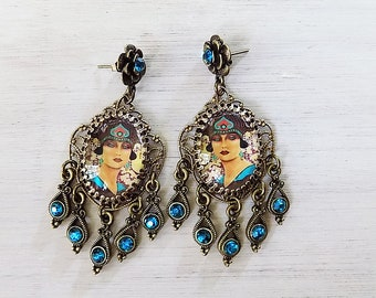 Art Deco earrings, Turnadot Opera, art jewelry, opera jewelry, Bohemian earrings, 1920s bohemian, theater jewelry, peacock blue earrings