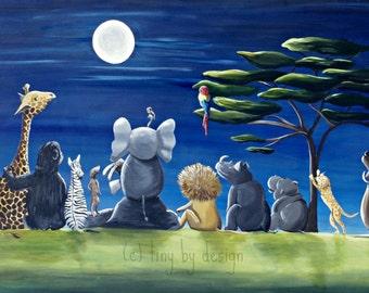 Safari Art, Safari Nursery, Safari Animal Art, Safari Kids Room Decor, Safari Illustration, Fine Art Print in Standard Sizes