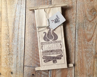 S'mores Stamped Favor Bags, 6 Coffee Bags with Tin Fold-over Closure, Outdoor Hiking Camping Campfire, Party Favor Bags