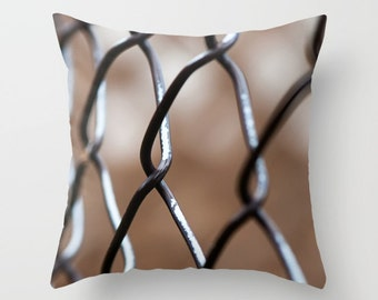 Throw Pillow Covers, Abstract Fence Photo Cushion Case, Handmade in Canada, Man Cave Sofa Decor, Teenager Hangout Sofa Accent, Boy's Bedroom