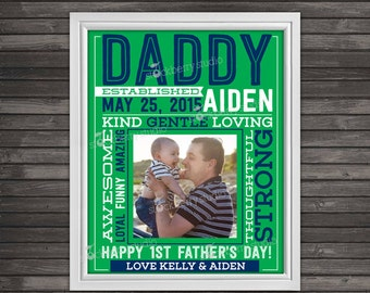 personalized fathers day gift - fathers day gift from baby - new dad fathers day gift - fathers day art - first fathers day gift from son