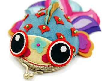 Kids DIY Little Goldfish Purse Coin Felt Bag DIY Non-woven Fabric Material Packages Handmade Felt Wallet Size 13X 17CM