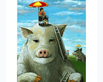 High on the Hog animal Fantasy Surreal print from original oil painting