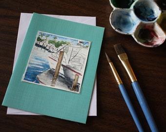 Miniature 3x3 Original Watercolor Note Card Boats in the Marina