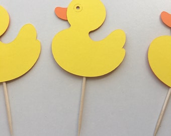 Yellow Rubber Duck Cupcake Dessert Toppers