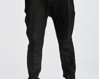 Leather Drop Crotch Pant Black