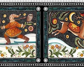 "The Four Seasons - Winter, In the Beginning Fabrics, Julie Paschkis, Winter Quilt Panel 24"" x 42/44"""