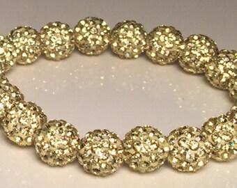 Light Gold Sparkle Bracelet, Shamballa Bracelet, Disco Bead, Crystal Pave, Rustic Style, Bridesmaid Stretch Bracelet