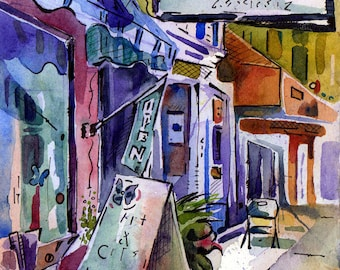 Butterfly Boutique - Watercolor of New Jersey Shore Shop - Painting by Jen Tracy - Original Plein Are Painting by New Jersey Artist