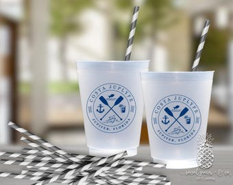 Nautical Party Cups | Boating Party Cups | Personalized Plastic Cups | Custom Party Cups | Monogram Cups | Party Cups