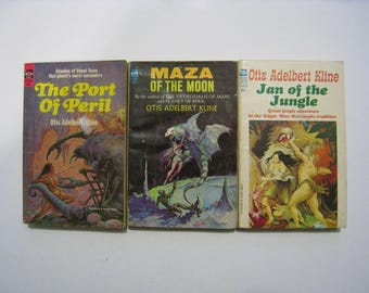 3 vintage Ace SciFi novels by Otis Adelbert Kline. Maza of the Moon, Jan of the Jungle, The Port of Peril. Science fiction adventure books