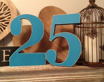 Wedding Table Numbers - Georgian Font - 28cm high - Number 25 - Wooden, Free Standing