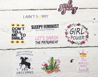 Feminist Vinyl Sticker Pack Floral Feminist Stickers Journal Stickers Empowerment Stickers Girl Power Stickers Feminist Vinyl Stickers