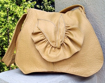 Desert Sand (Yellow) Leather Hobo Handbag with Ruffle