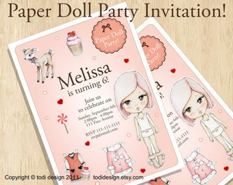 Birthday party invitations - Paper Doll Party - Printable digital file