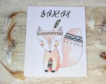 Personalized Nursery Art, Tribal Nursery Decor, Kids Name Sign, Rustic Nursery Decor, Tribal Nursery Prints, Fox Wall Art, Fox Print