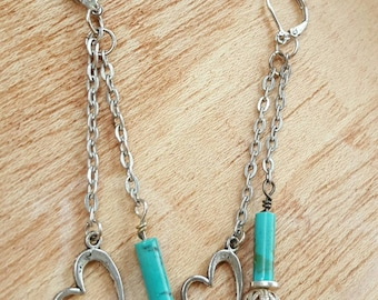 Silver Heart Earrings --Turquoise and Silver -- Lightweight Earrings -- Dangle Earrings