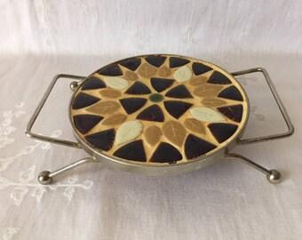 Vintage Mosaic Ceramic Trivet, 1960s, Vintage Trivet, Vintage Kitchen