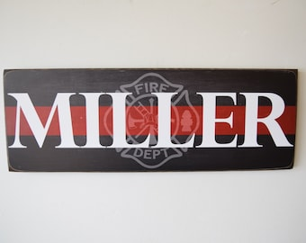 Firefighter Name Sign, Firefighter Decor, Family Name, Fireman Decor, Firefighter Sign, Fireman Sign, Firefighter Wedding, Fire - HeroSigns