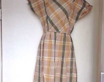 UK Vintage 1980s Dress Tartan Plaid Eighties Clothing 80s Fashion Summer Clothing Short Sleeve Beige Yellow Mustard Green - UK Size 8-10  -D
