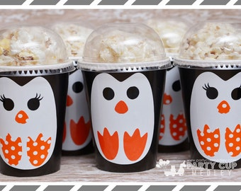 Penguin  Party Cups-Penguin Party Cups- Winter Onederland Birthday Party