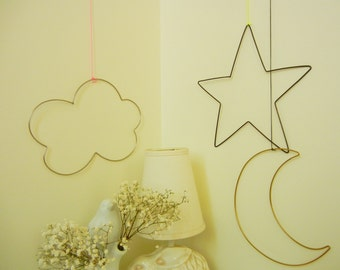 Twinkle Wire wall Ornaments for baby nursery in letters and symbols-NOW with floating option!