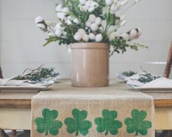 Shamrock Table Runner, Burlap Table Runner, Farmhouse Table Runner, St. Patrick's Day decor * Free Shipping*