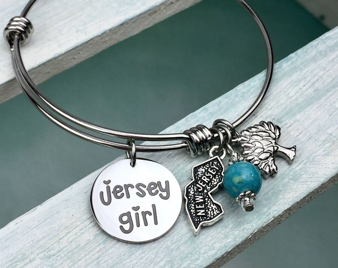 Jersey Girl Expandable Bangle Bracelet, Charm bracelet, jersey shore, New Jersey, Garden state, pork roll, bruce, jughandle