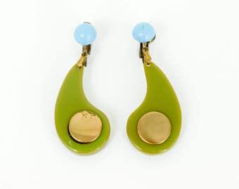 40s Olive Geen and Turquoise Bakelite Earrings   Bakelite Drop Earrings