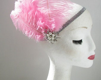 Pink & Silver Feather Pearl Headpiece Great Gatsby Flapper Headband 1920s Y38