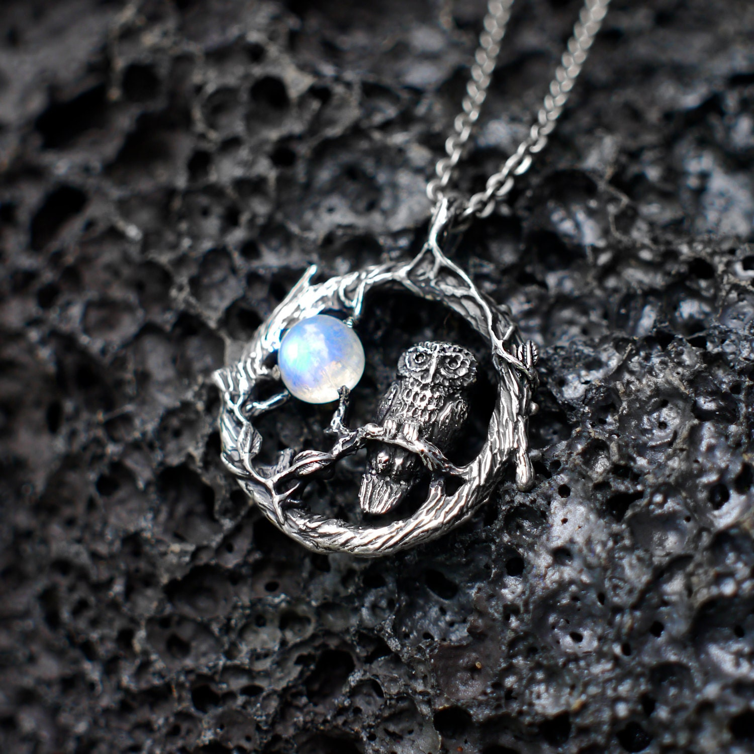 cloud rolling kind rainbow pendant stone white silver one handmade of product hammered moonstone topaz a moon