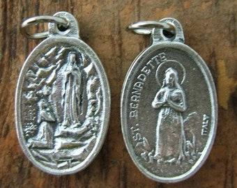 2 Saint Bernadette and Our Lady of Lourdes Oxidized Medals