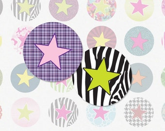 STARS - 1 Inch Circle Digital Collage Sheet for Bottle Cap Pendants, Magnets and More (Instant Download No. 984)