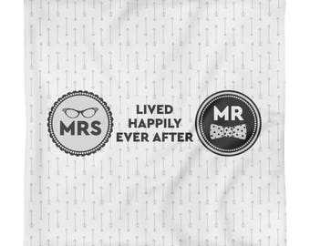 Hipster Square Pillow Case only Wedding - Lived Happily Ever After