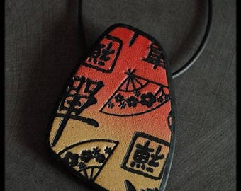 Pendant red Asian patterned beige gradient polymer