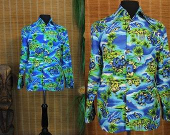Hawaiian Shirt.....70's Poly Long Sleeved Hawaiian Shirt