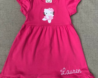 Hello Kitty Birthday Dress, Hello Kitty Dress, Ballerina Hello Kitty Dress with monogram