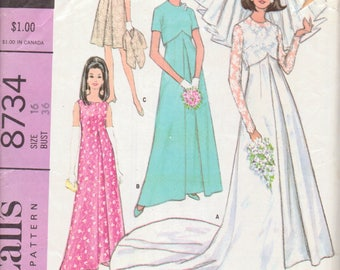 Vintage 1960s Wedding Dress Pattern, Fitted Dress and Jacket, Size 16, Bust 36 Inches